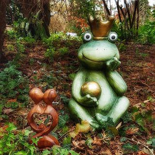 Der Frosch und das Herz-Paar im Garten